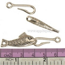 diy clasps and toggles bracelet antique silver animal flat long fish hooks wholesales metal fashion jewelry findings 60mm 10 set