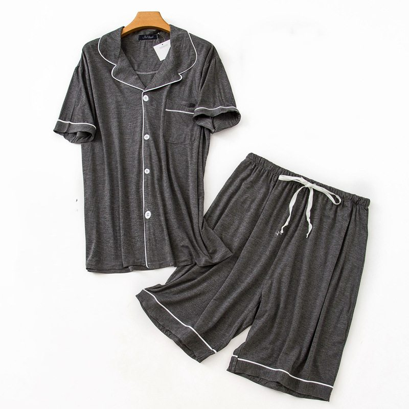 Suit Pajama-Sets Sleepwear Male Men's Plus-Size Summer Casual New Plaid Viscose Shirt