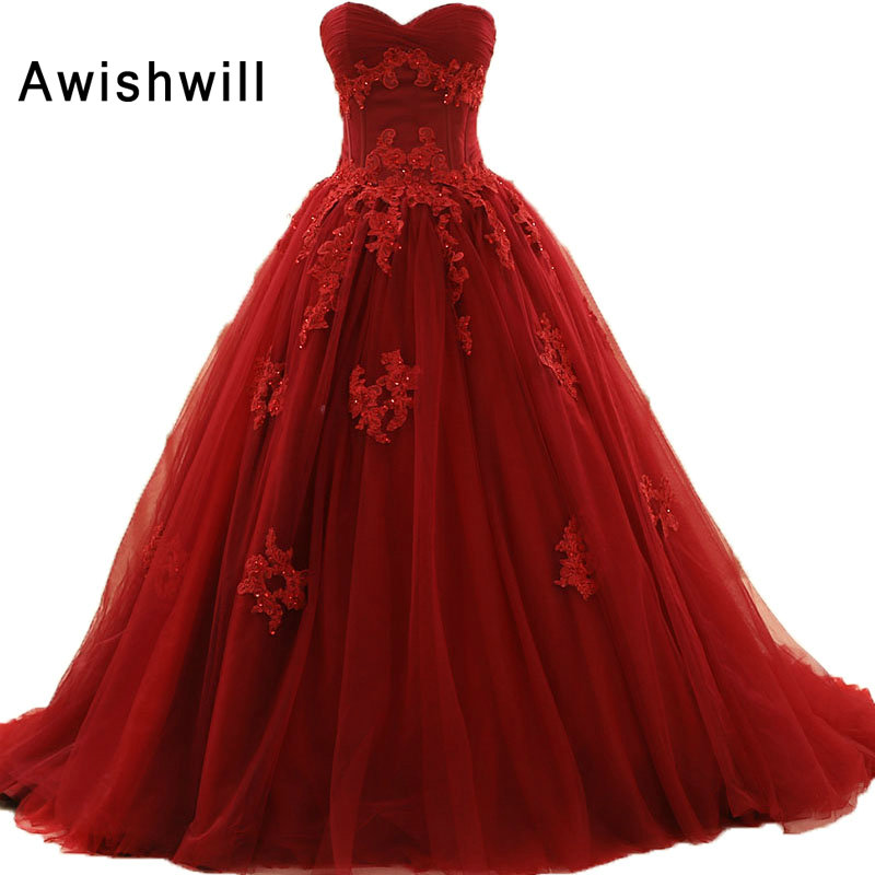 New Arrival Sweetheart Lace up Back Appliques Tulle Ball font b Gown b font font b