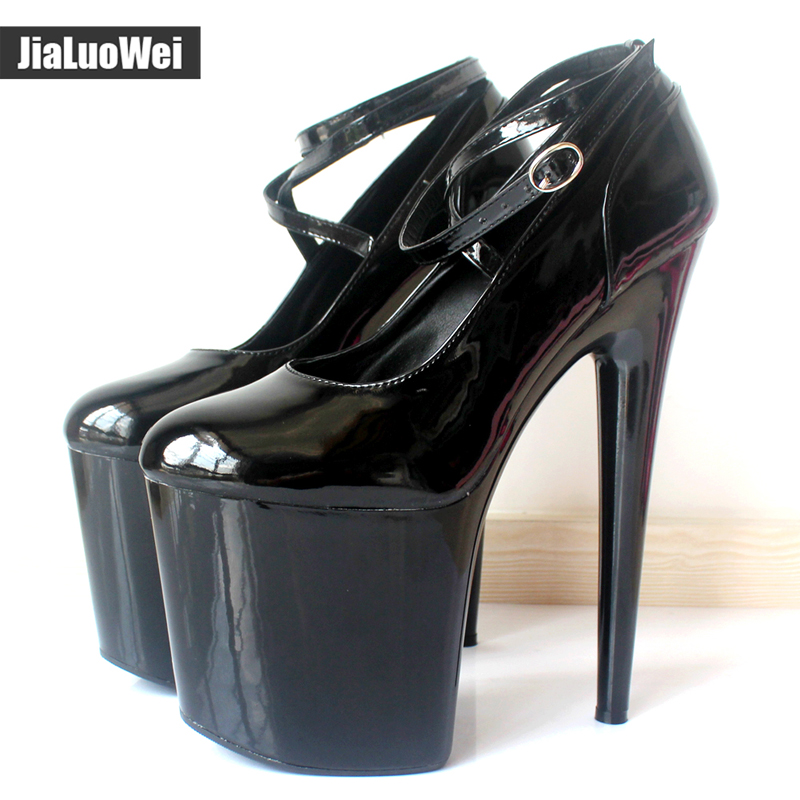 JIALUOWEI Extreme 20cm High Spike Heel Thick Platform Patent Pointed Toe Ankle Strap Boots - Exotic,Fetish,Sexy,Shoes  jialuowei 6 extreme high heel fashion pump sexy foot fetish toe platform pumps high heels shoes adult women large sizes