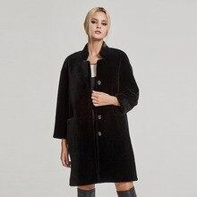 Женское короткое пальто из овчины, шуба из овчины, шуба из овчины, меховая куртка с воротником-стойкой, Fur Story 17142N