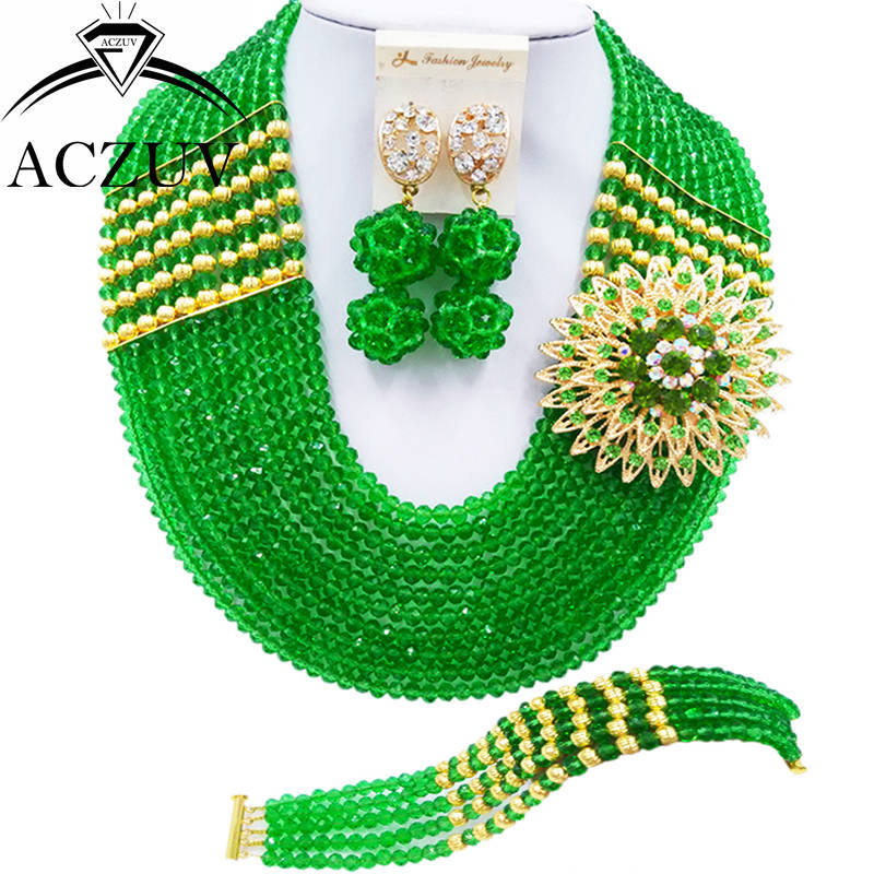 ACZUV 10 Rows Fashion Green African Beads Jewelry Set for Women Nigerian Wedding Jewelry Sets 10LBJZ006ACZUV 10 Rows Fashion Green African Beads Jewelry Set for Women Nigerian Wedding Jewelry Sets 10LBJZ006