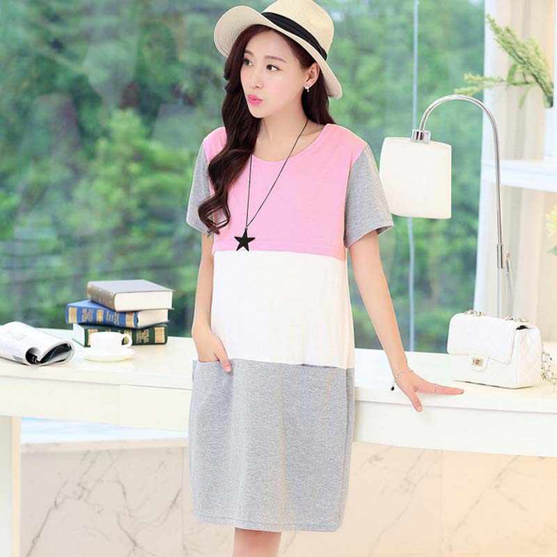 e9f21e5886c44 Spring Summer Maternity Clothes For Pregnant Women Lactating Patchwork  Feeding Clothes Things for Nursing Mothers Pregnant
