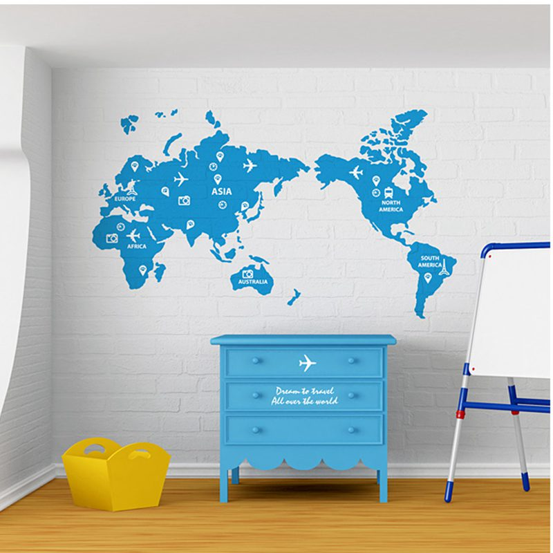 World Map Wall Stickers Large New Design Travel Trip Art Pattern Creative Map
