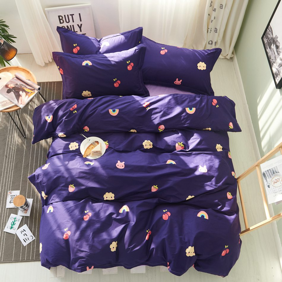 Blue and purple bed sets - Cherry Strawberry And Rainbow Bed Sheets Purple Bedspread Bedding Set Queen King Twin Size