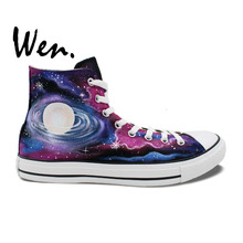 Wen Original Design Custom Hand Painted Shoes Galaxy Nebula Space Men Women's High Top Canvas Sneakers