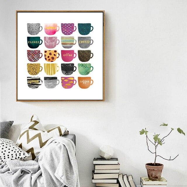 Abstrakte Multi Farben Tassen Leinwand Malerei Poster und Druck ...