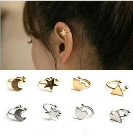 1 Uds hoja dorada plateada corazón estrella sin Piercing oreja brazalete chica forma U No cartílago perla oreja Clip en pendientes para mujer en venta