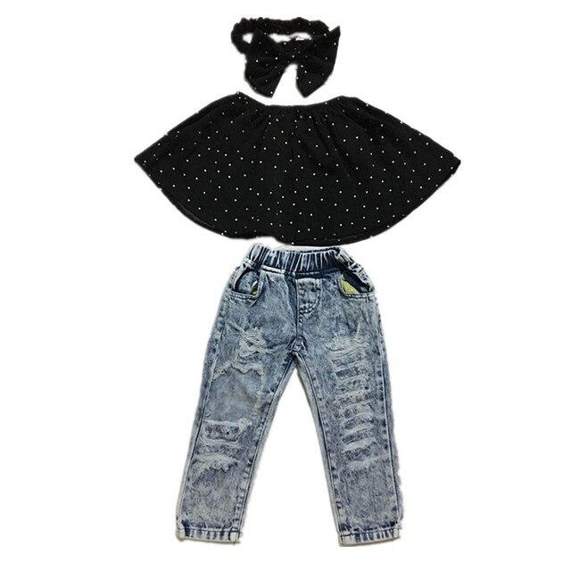 0fb942f039d5e 2018 Infant Baby Girls Clothes Sets Dot Sleeveless Tops Vest Hole Denim  Pants Headband 3pcs Clothing Set Baby Girl Jeans 2-7Y