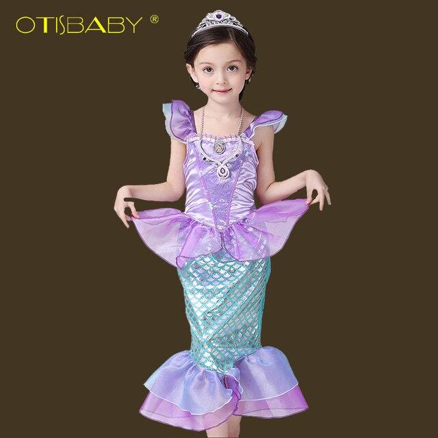 0d76f93e82de Платье Русалочки для девочек, красивые детские платья принцессы Ариэль,  детская одежда Русалочки, рождественские