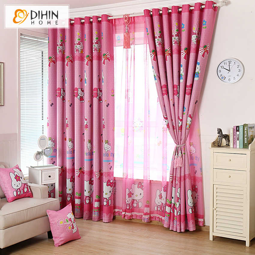 DIHIN 1 PC New Arrival Cartoon Pink Color Curtains For Children Room Sheer Curtain For Girls Room Ready Made Product