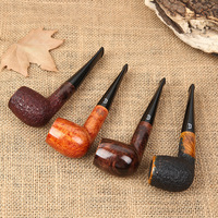 High Quality Briar Wood Pipe for Smoking Weed Tobacco Wooden Smoke Cigarette Pipes Mirror Surface and Carving Style Pipe Gift