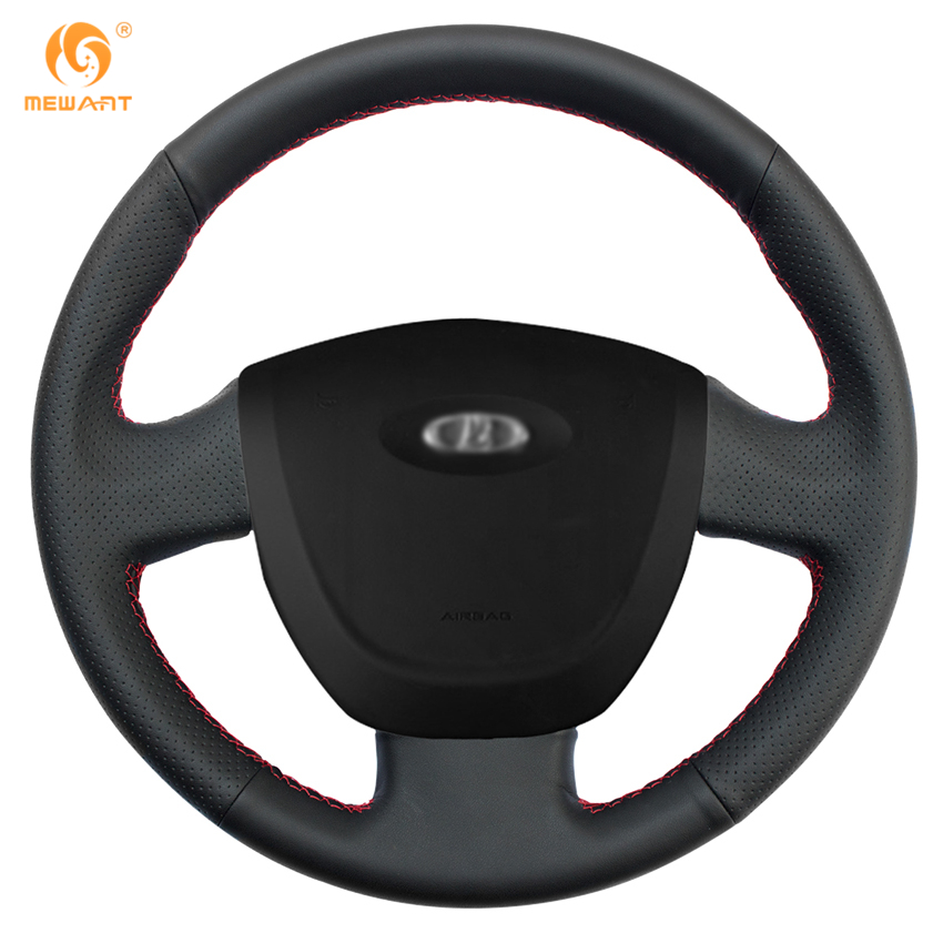MEWANT Black Artificial Leather Car Steering Wheel Cover for Lada Granta 2011-2016