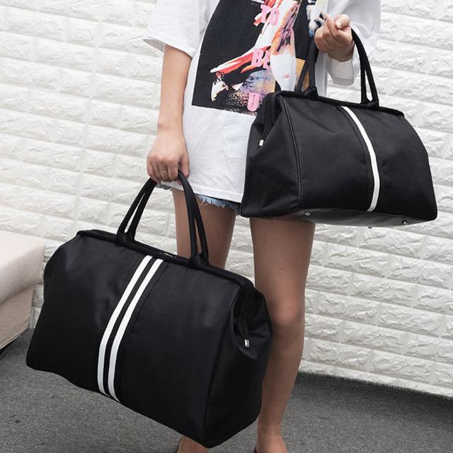Women Sport Bag Stripe Gym Bag Fitness Sports Bag Large Travel Handbag Duffle Bags Overnight Weekend Traveling Bags Men XA637WB