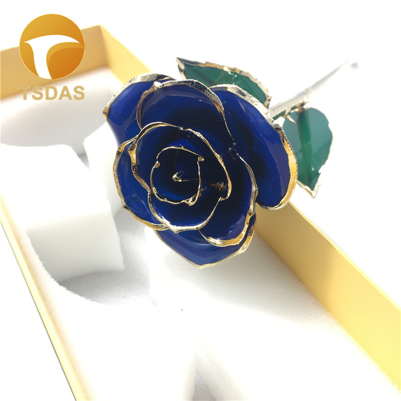 Aliexpress Com Buy Wr Romantic Rose 24k Gold Dipped: Romantic Flower 24K Gold Plated Rose With Blue Color Gold