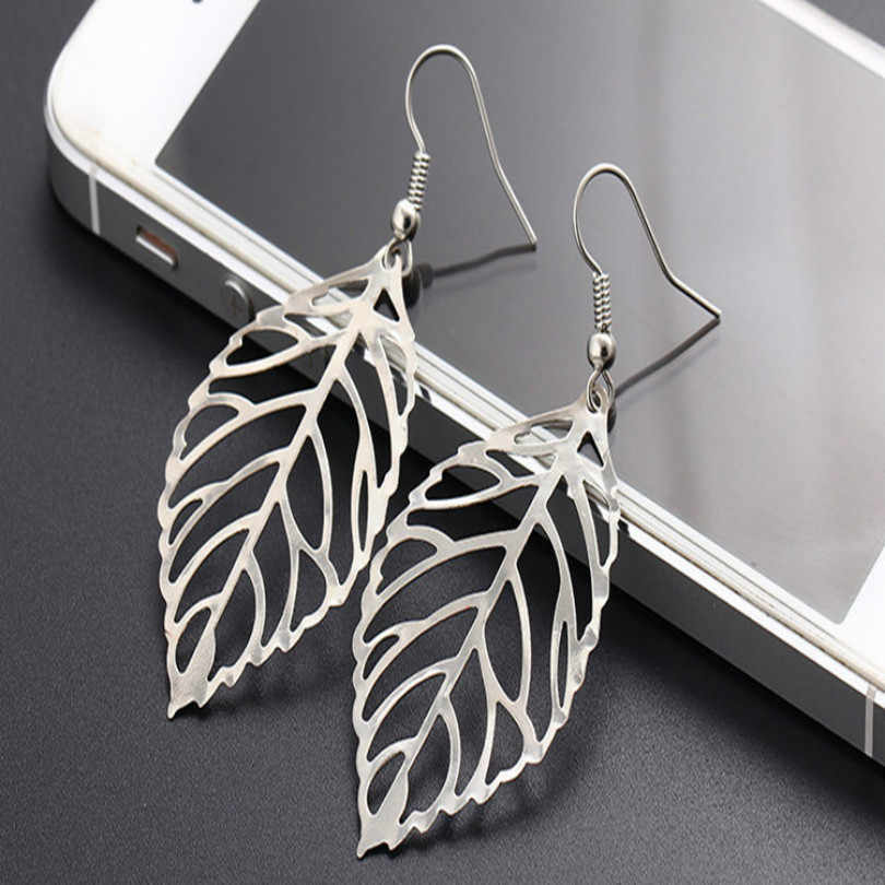 2018 Women's Pendant Earrings Bohemian Tassel Earrings 2018 Fashion Jewelry Metal Leaf Long Statement Female Earrings