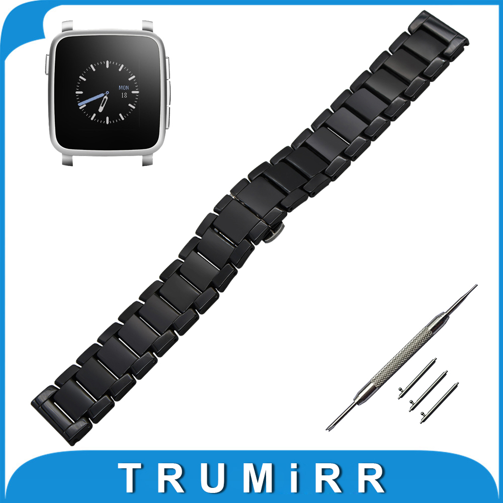 цена на 22mm Quick Release Ceramic Watchband for Pebble Time / Steel Moto 360 2 46mm Watch Band Butterfly Buckle Strap Wrist Bracelet