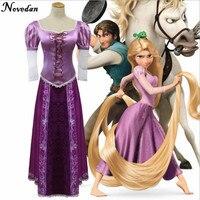 Free Shipping Custom Made Beautiful Women Cosplay Cartoon Fantasia Halloween Costume Princess Dress For Rapunzel