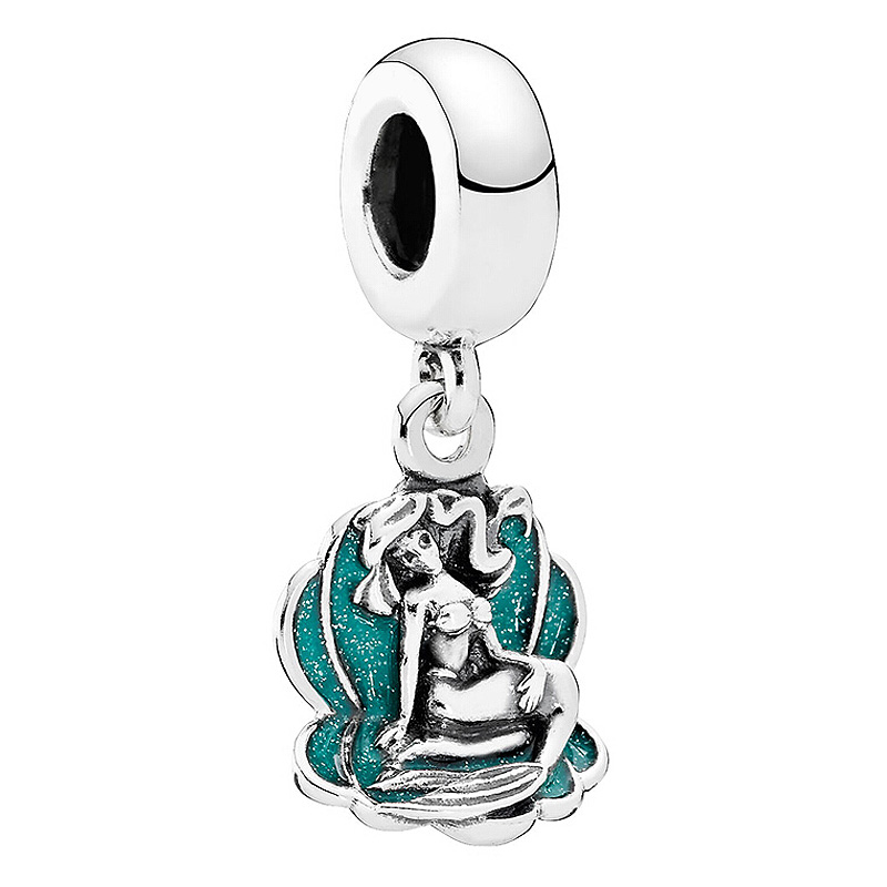 Authentic 925 Sterling Silver Bead Charm Green Enamel Ariel In Her Shell Pendant Beads Fit Pandora Bracelet Bangle DIY JewelryAuthentic 925 Sterling Silver Bead Charm Green Enamel Ariel In Her Shell Pendant Beads Fit Pandora Bracelet Bangle DIY Jewelry