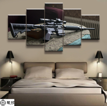 Hot Sales Without Frame 5 Panels Picture Canvas Firearms Rifle Poster Painting Artwork Wall Art Wholesale