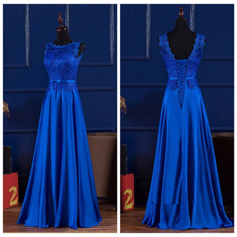 Royal Blue Evening Dress Long Backless Scoop Lace Prom Party Gowns ...