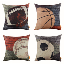 LINKWELL 18″x18″ 1PC Vintage American Football Soccer Basketball Baseball Retro Man Cave Burlap Pillowcase Throw Cushion Cover