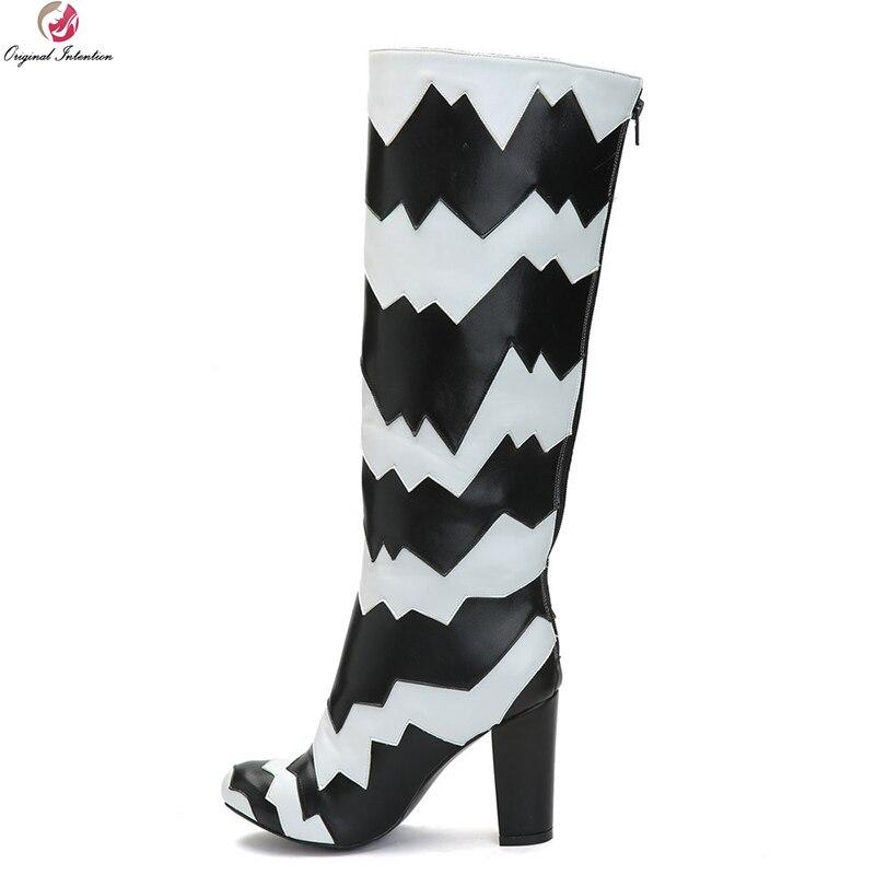 Chaussures Patchwork Style Ef1487 Black 4 Plus Initiale Genou Nouveau Femme Taille Nous Bottes Talon Femmes 15 Rond white Carré Dames Bout L'intention Haute qRxw0ESSO
