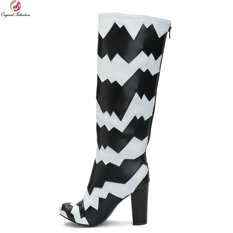 цена на Original Intention New Stylish Women Knee High Boots Patchwork Round Toe Square Heel Boots Ladies Shoes Woman Plus US Size 4-15