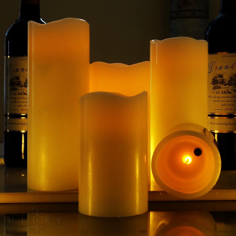 5 tamaños de viento control volar LED vela cera perfumada vela velas de cumpleaños de Casa decoración de la boda Lellen marfil parpadeo velas LED con control remoto perfumada vela de la batería operado de velas de Casa decoración de la boda