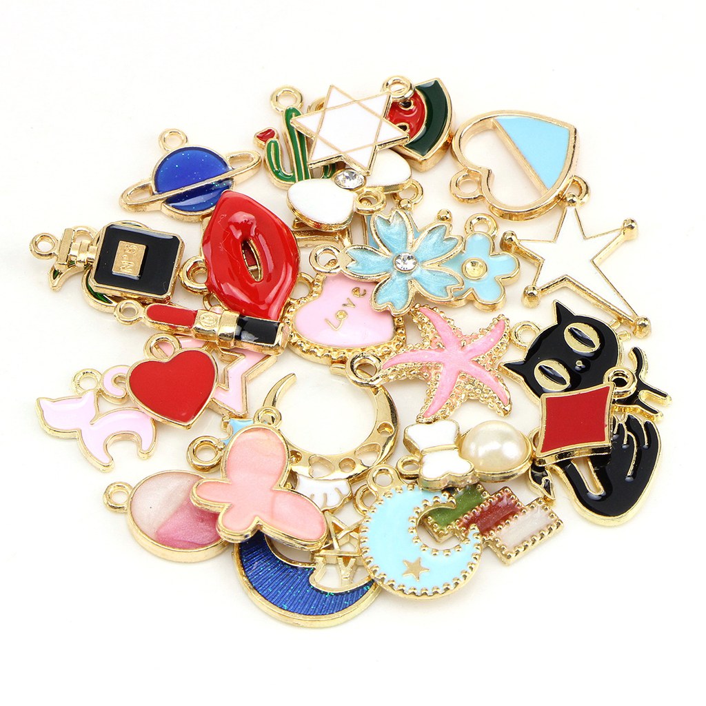 30x Enamel Cartoon Pendants DIY Necklace Earring Bracelet Chain Alloy Charms Pendant for Jewelry Making Crafts Connector gift in Pendants from Jewelry Accessories