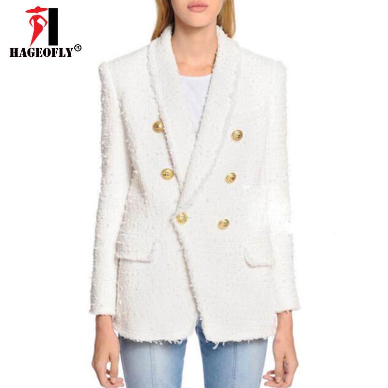 HAGEOFLY High Quality White Black Blazer Women Long Sleeve Gold Double Buttons New Designer Blazers Outer