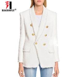 HAGEOFLY высокое качество белый черный блейзер Для женщин с длинным рукавом золото Двойные кнопки новые дизайнерские пиджаки внешняя куртка