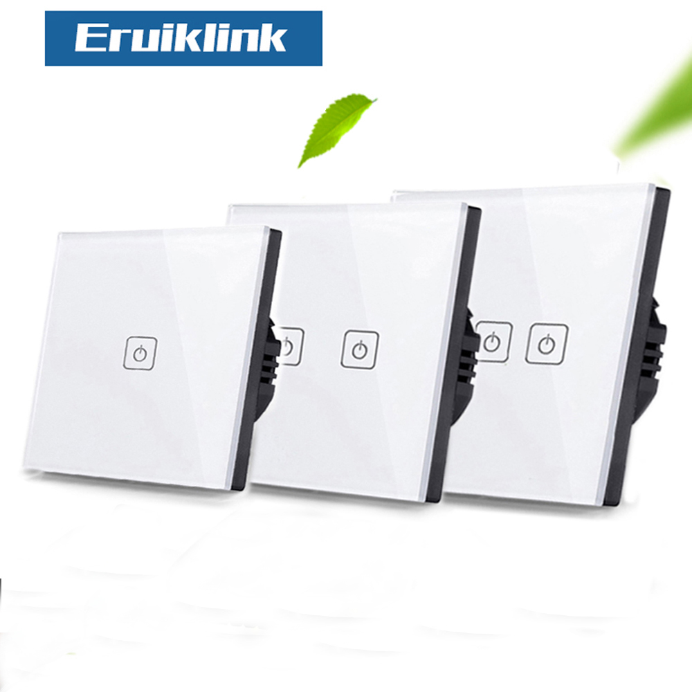 EU/UK Standard Eruiklink Touch Switch 1 Gang/2 Gang/3 Gang 1 Way,Single Fireline Wall Light Switch,White Crystal Tempered Glass