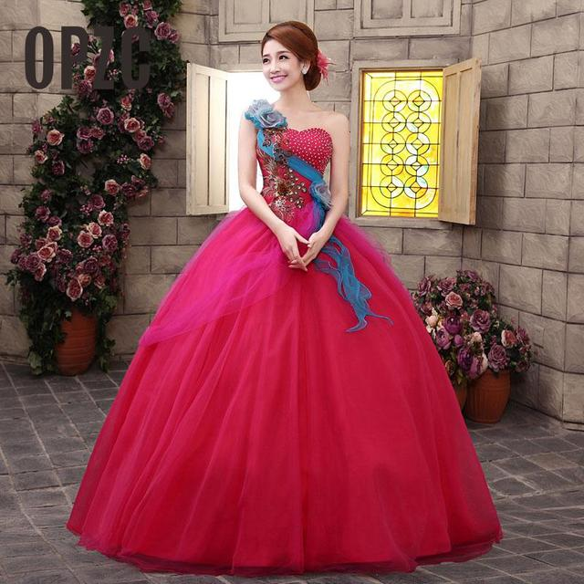 Organza Colored Wedding Dress 2017 New Korean One Shoulder Style Pink Blue Rose Red Flower Princess