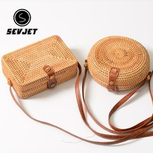 2018 Round Straw Bags Women Summer Rattan Bag Handmade Woven Beach Cross Body Bag Circle Bohemia Handbag Bali Box Dropshipping(China)