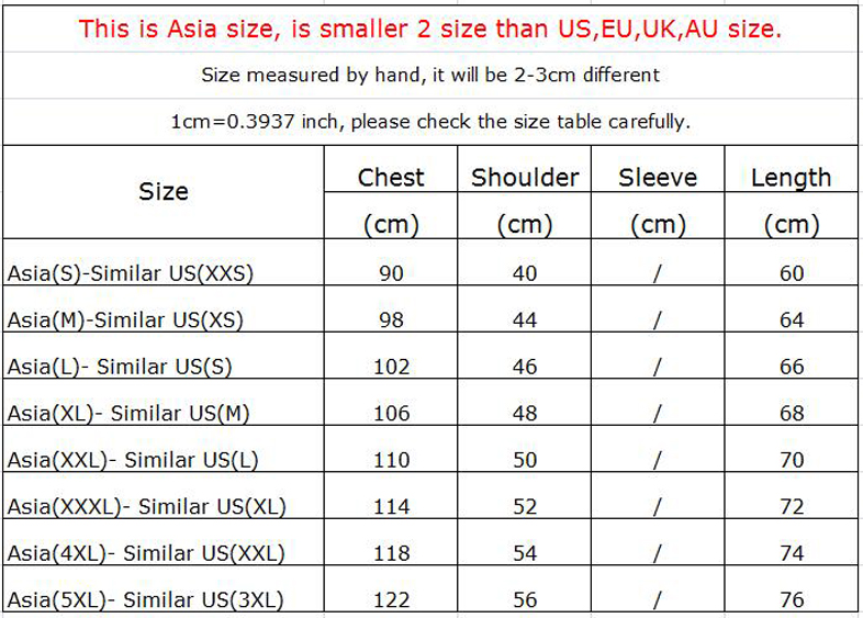 Anime T Shirt Sizes