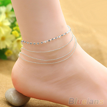 5PCS Chic Women's 4 Layers Crystal Beads Sandal Beach Anklet Ankle Chain Foot Jewelry