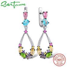 SANTUZZA Silver Earrings For Women 925 Sterling Silver Dangle Earrings Long Silver 925 Colorful Stones brincos Fashion Jewelry
