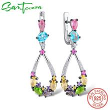 SANTUZZA gümüş küpe kadınlar için 925 ayar gümüş sarkık küpe uzun gümüş 925 renkli taşlar brincos moda takı