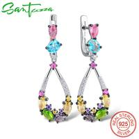 SANTUZZA Silver Earrings For Women 925 Sterling Silver Dangle Earrings Long Silver 925 Colorful Stones Brincos
