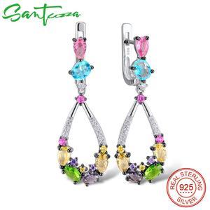 Image 1 - Santuzza ピアス女性 925 スターリングシルバーブラブライヤリングロングシルバー 925 カラフルな石 brincos ファッションジュエリー