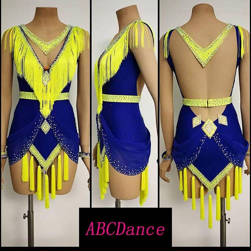 latin dance dress women Sexy backless Tassel latin dance dress Mini Short dress for Cha Cha Rumba Tango dancing