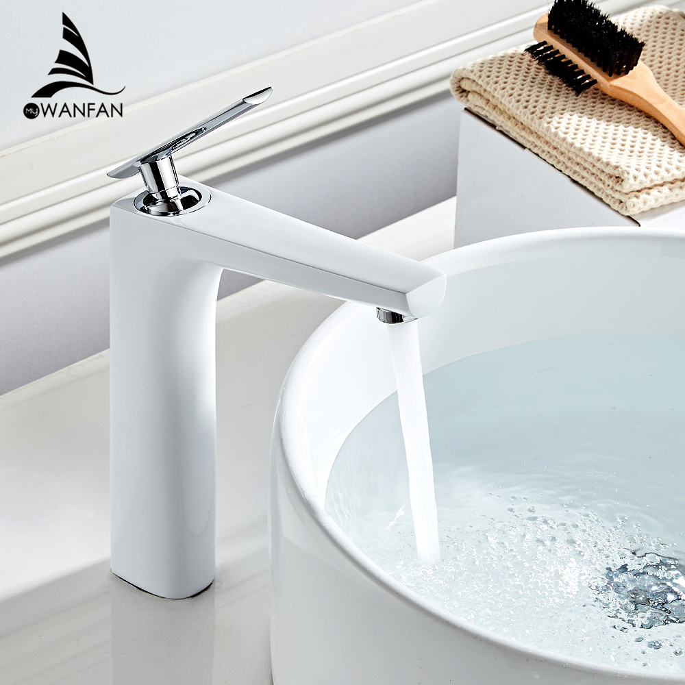 Basin Faucets White Color Basin Mixer Tap Bathroom Faucet Hot and Cold Chrome Finish Brass Toilet Sink Water Crane Gold 855323Basin Faucets White Color Basin Mixer Tap Bathroom Faucet Hot and Cold Chrome Finish Brass Toilet Sink Water Crane Gold 855323
