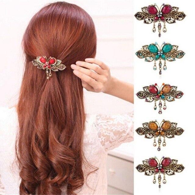 7ad6ae725732e Women Lady Retro Vintage Crystal Diamond Butterfly Hair Clip Flower  Hairpins Barrettes Headwear Flowers Hair Accessories 4 Color