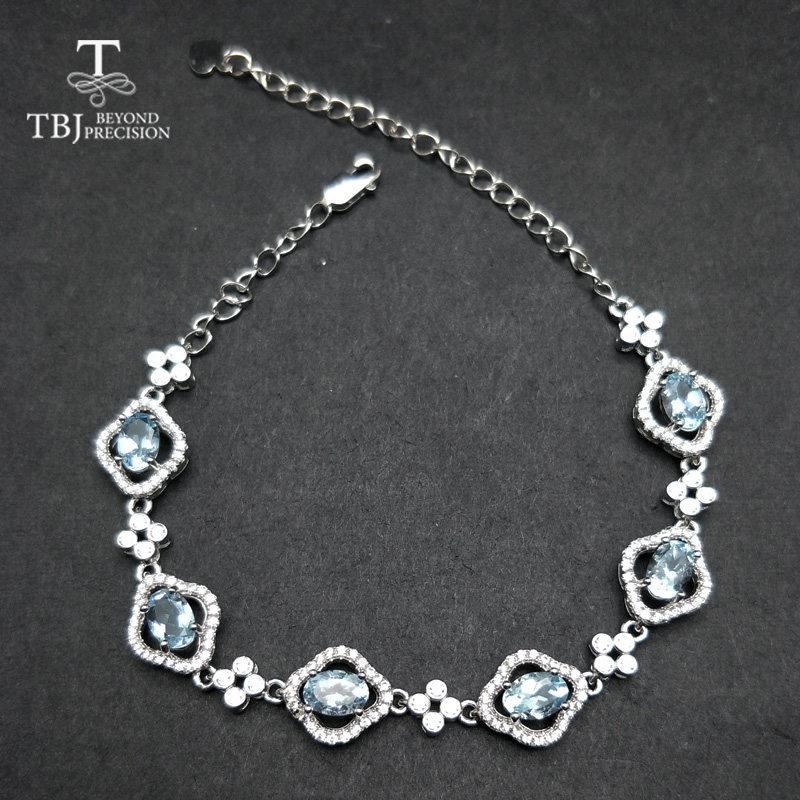 TBJ,Fashion shiny flower natural aquamarine bracelet in 925 sterling silver flower bracelet with extend chain for girl lady gift 925 sterling silver aquamarine bracelet with flower women thai silver gift dual string jewelry ch058534