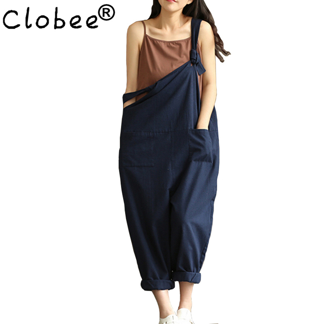 b6aa5b346a0d Clobee Navy Blue Sexy Overalls Women Large Size Jumpsuit Clothes Rompers  Summer Autumn 2017 Cotton Linen
