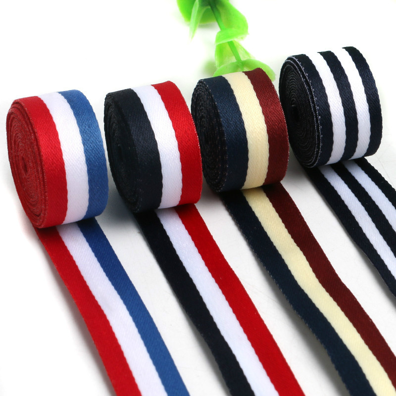 Colour striped webbing ribbons men and women T-shirts clothing accessories, shoes and hats, decorative ribbons belts 5 m long