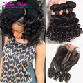 Top 8a Grade Brazilian Aunty Fumi Hair 4 Bundles With Closure, Brazilian Bouncy Curly Human Hair Weaves With Closure Egg Curls