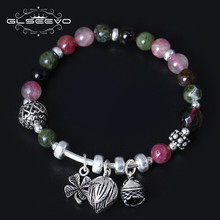 XlentAg Natural Tourmaline Crystal Charms Bracelet 925 Sterling Silver Female Personality Leaves Flower Pulseras GB0036