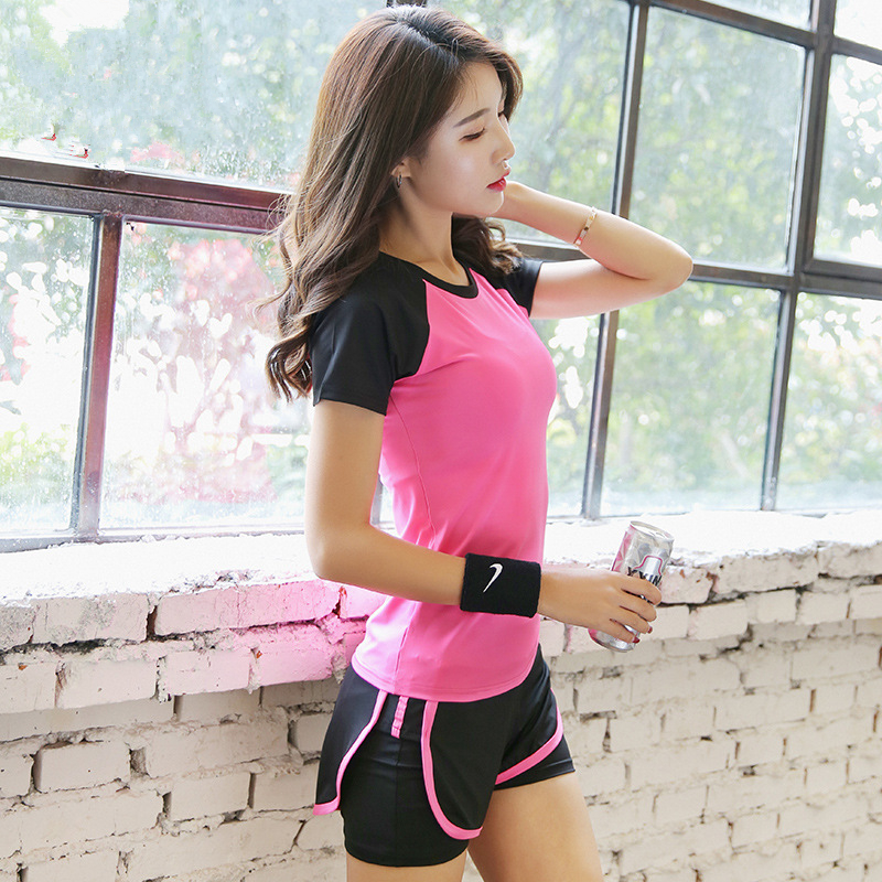 2019 Women Tracksuit Two Piece Yoga Set Gym Fitness Clothes Tennis Shirt+Short Running Tight Jogging Workout Leggings Sport Suit